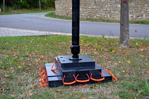 Abstütztechnik Kranbalken mit Abstützplatte