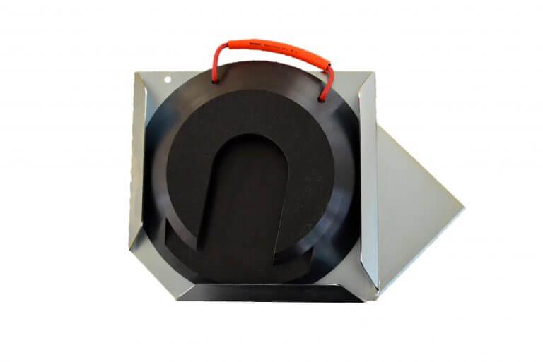 Steckplatte rund schwarz mit Halter links