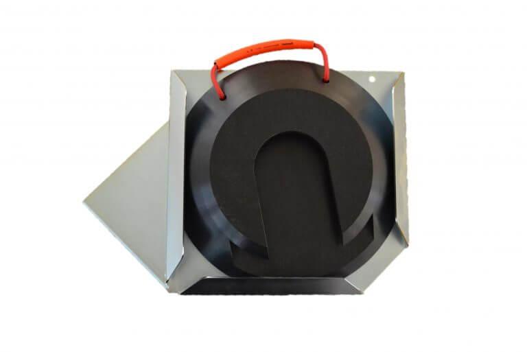 Steckplatte rund schwarz mit Halter rechts